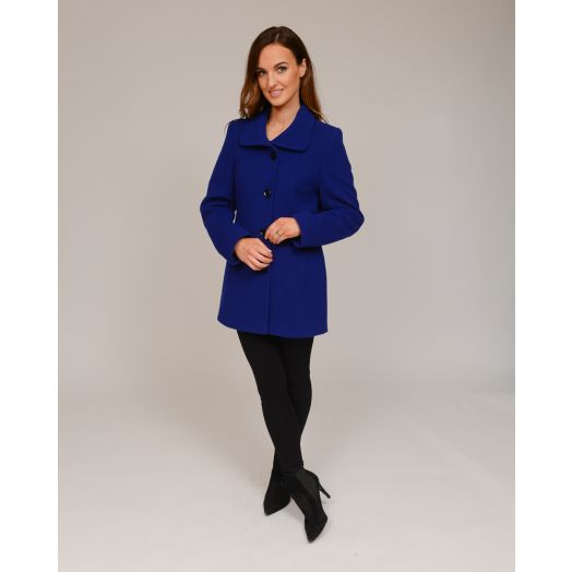 Christina Felix | Short Wool Lapel Coat- Royal Blue