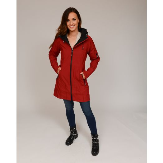 Ilse Jacobsen | Softshell Long Raincoat Rain37 -Rhubarb Red