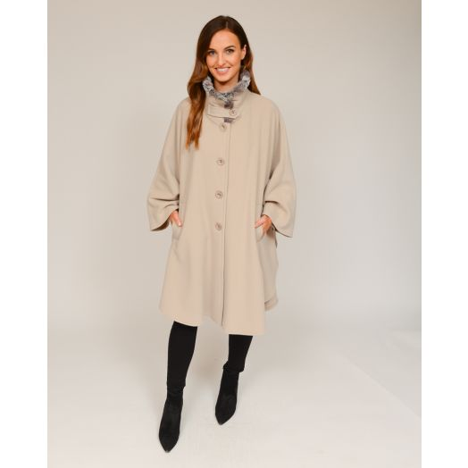 Jimmy Hourihan | Pita Cape With Faux Fur Lined Funnel Collar -Cream