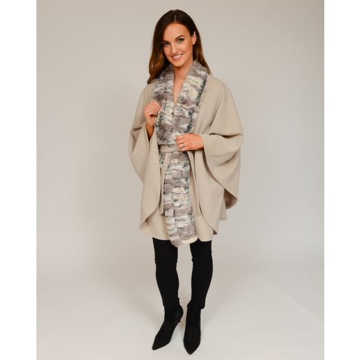 Jimmy Hourihan | Delfi Belted Cape With Faux Fur Trim -Cream