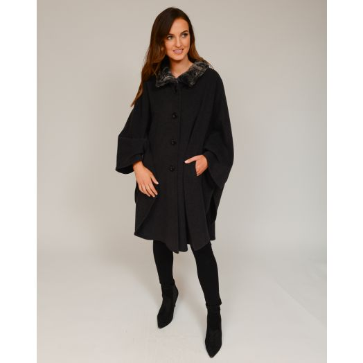 Jimmy Hourihan | Pita Cape With Faux Fur Lined Funnel Collar -Charcoal