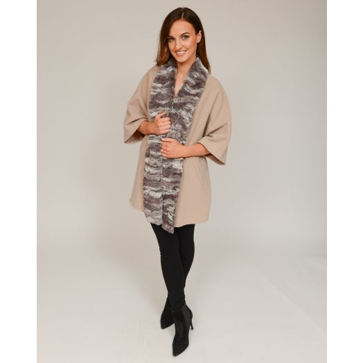 Jimmy Hourihan | Electra Cape With Faux Fur Trim -Cream