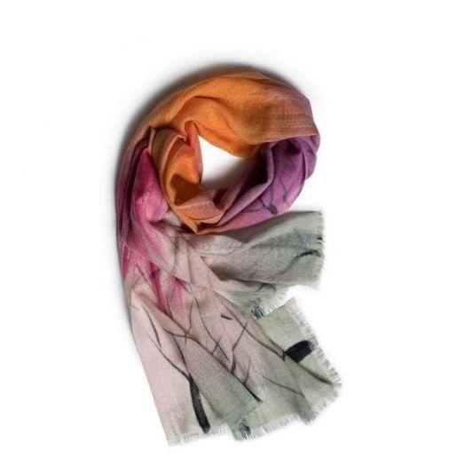 Galway Crystal | Dusk, Pink And Orange Merino Wool Scarf