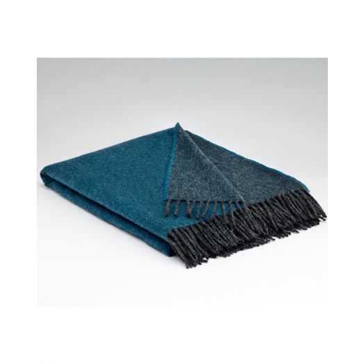 Mcnutt   Collection Reversible Throw- Larkspur Charcoal and Blue