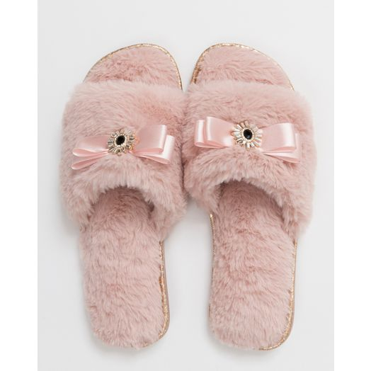 Pia Rossini | Faux Slippers-  Blush Pink