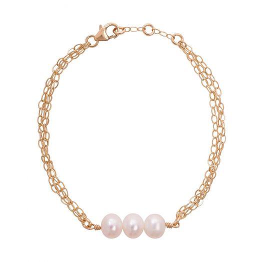 Lulu and Belle | Triple Pearl Bracelet - Gold