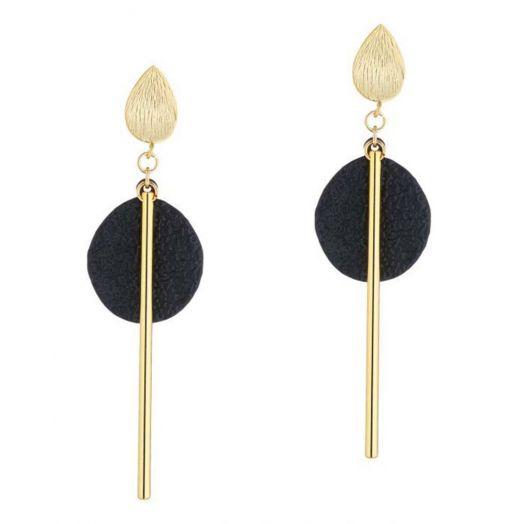 Scribble and Stone | Stem Disc Drop Earrings