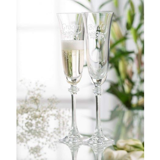 Galway Crystal   Floral Bride and Groom Champagne Flutes