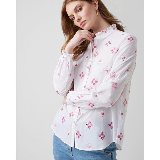 Great Plains | Chintz Cotton Shirt- Pink/ White