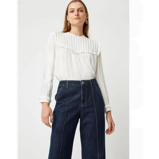 Great Plains| Filey Long Sleeve Blouse- White