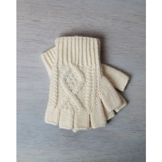 Aran Handknit Fingerless Gloves | Natural | Carraig Donn | R210