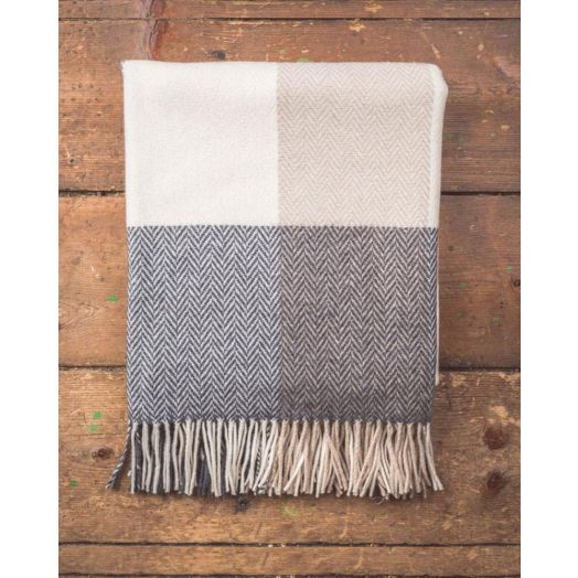 Foxford Woollen Mills | Grey, Bone & White Checked Throw
