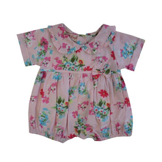 Powell Craft | Floral Print Romper- Pink