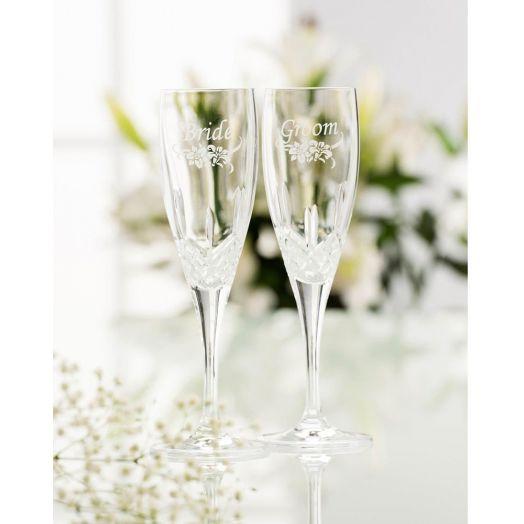 Galway Crystal   Bride And Groom Floral Flutes