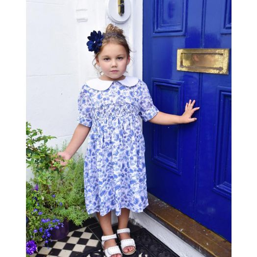 Powell Craft | Floral Smock Dress- Blue and White