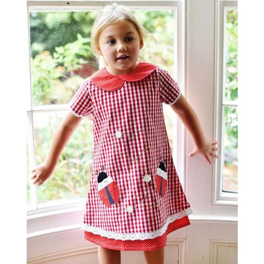 Powell Craft |  Checked Ladybird Dress -Red