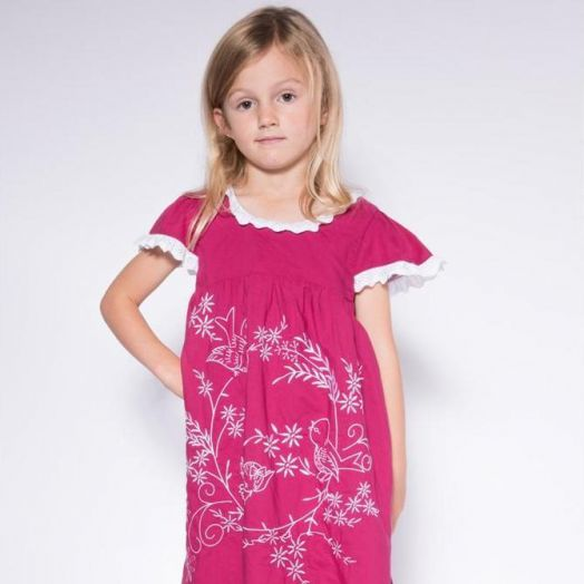 Powell Craft | Birds Embroidered Dress-Maroon