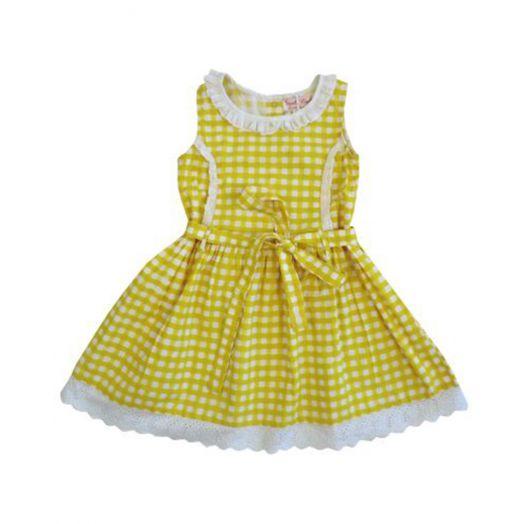 Powell Craft | Cotton Lemon Check Dress