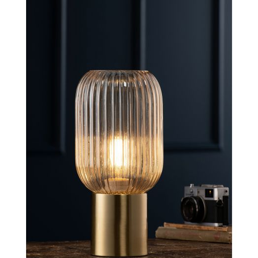 Galway Crystal   Fluted Glass Table Lamp -Amber