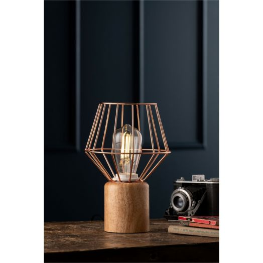 Galway Crystal | Wood And Copper Lamp
