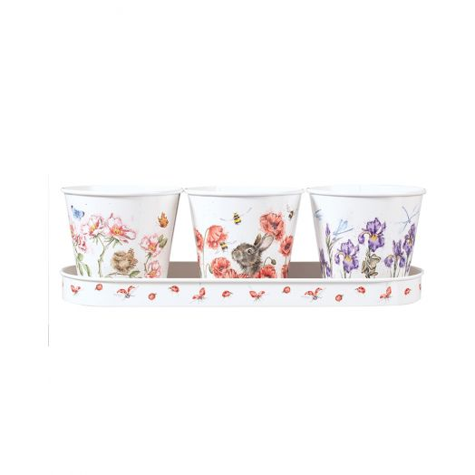 Wrendale | Herb Pots and Tray Set-Floral