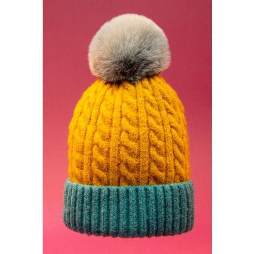 Powder | Greta Bobble Hat in Mustard/Teal