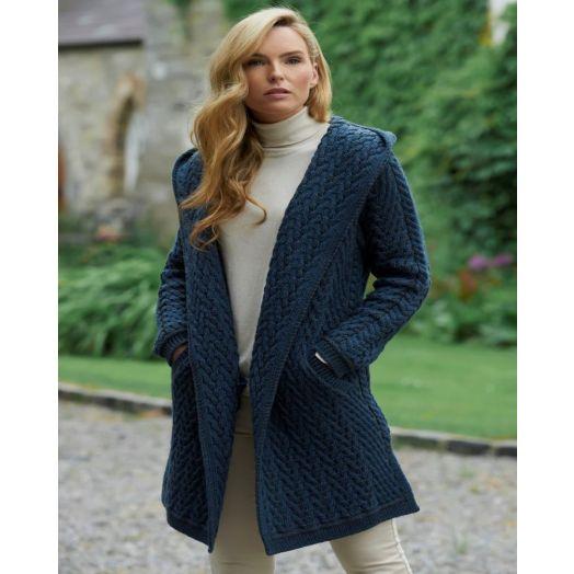 WestEnd Knitwear | Herringbone Shawl With Hood-Mallard-hd4872