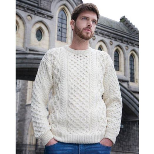 Ireland's Eye | Unisex Honeycomb Stitch Sweater A653- Natural