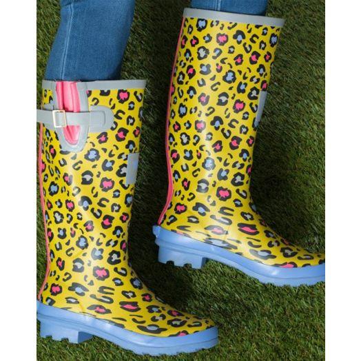 Leopard Print Wellington Boots - Lime