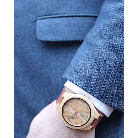 Rustech   100% Irish Wood Watch-red