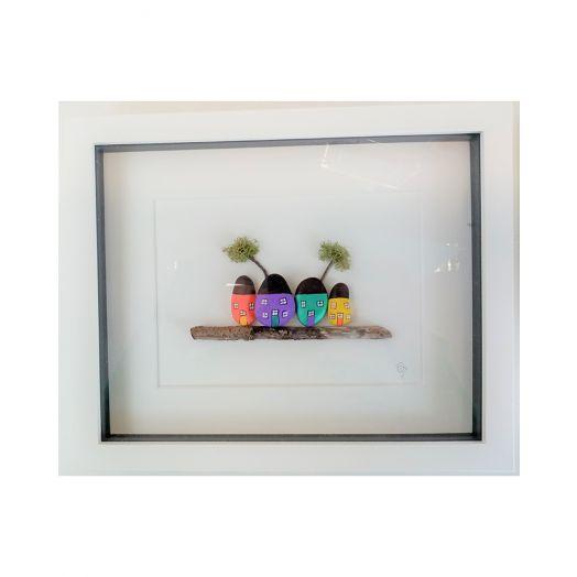 Simply Mourne | Coloured Houses Medium Frame -White