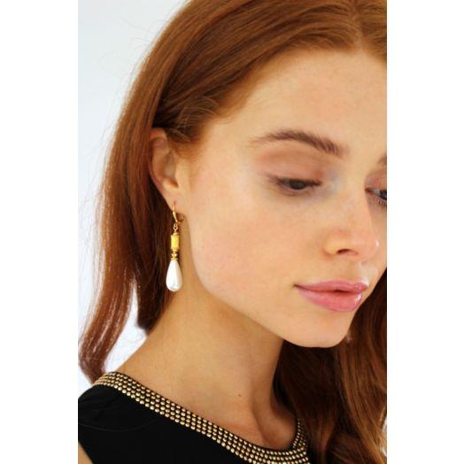 K Kajoux   Grecian Pearl Earrings - Short