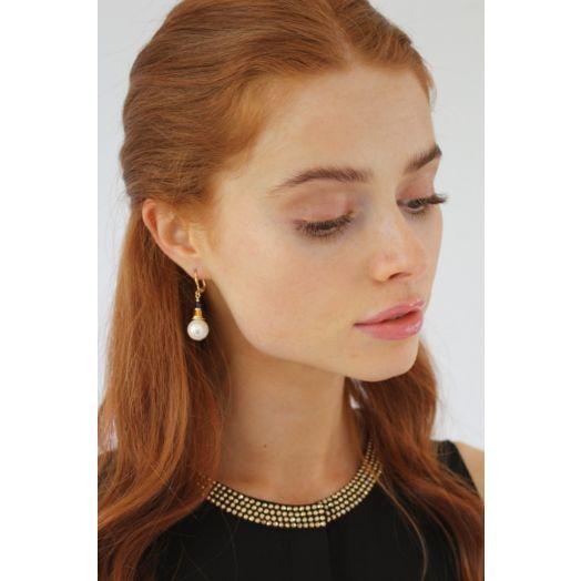 K Kajoux   Corcra Pearl Earrings - Short
