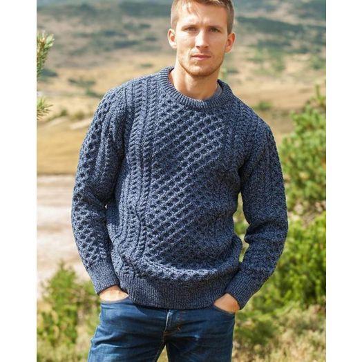 Original Aran Co. | Traditional Crew Aran Sweater Unisex 2514- Denim