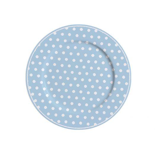 Isabelle Rose   Porcelain Polka Dot Dessert Plate - Blue