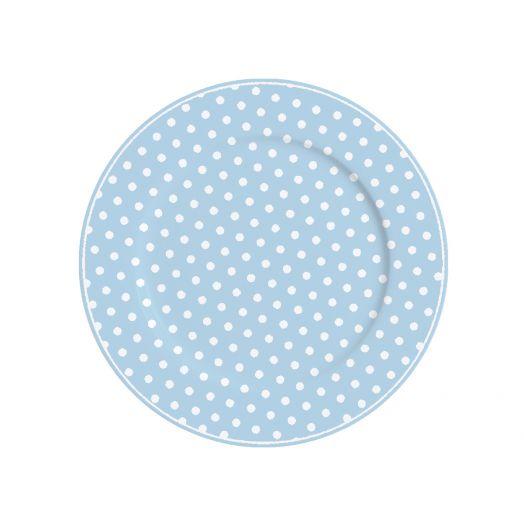 Isabelle Rose   Large Pastel Blue Polka Dot Plate
