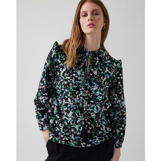 Great Plains | Summer Meadow Tie Neck Blouse- Fresh Green