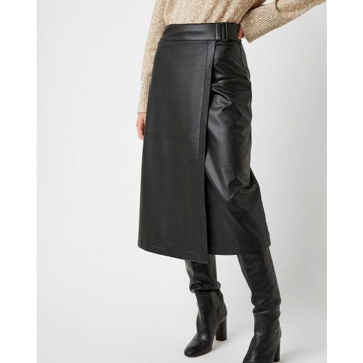 Great Plains | Clayton Luxe Pleather Midi Skirt- Black