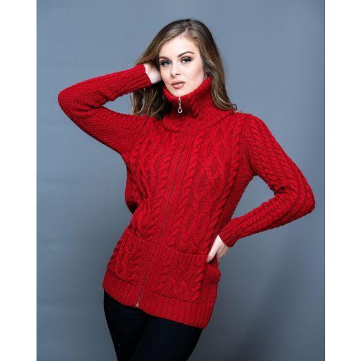 Original Aran Co. | High Collar Zip Cardigan JD01- Red