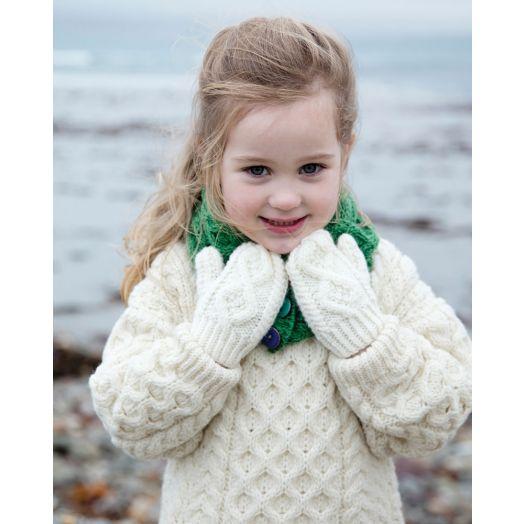 Aran Woollen Mills | Kids Handknit Mittens | S172 - Natural