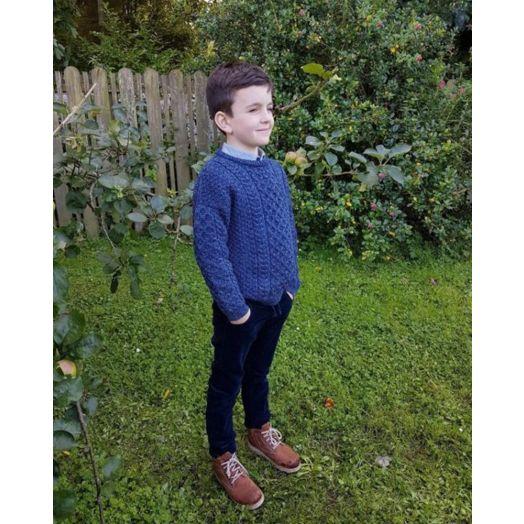 Original Aran Co. | Kids Crew Neck Aran Sweater- Denim Marl
