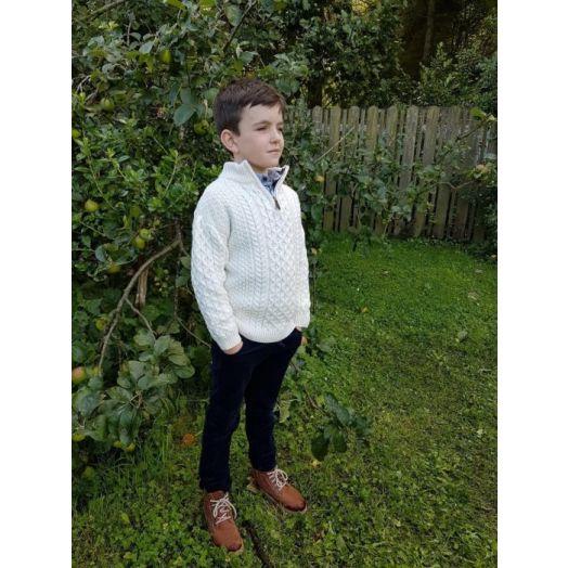 Original Aran Co. | Kids Aran 1/4 Zip Sweater 2507k- Natural