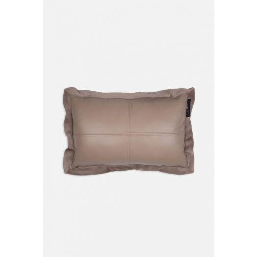 Rino & Pelle | Vegan Leather Faux Fur Cushion - Silver Cloud