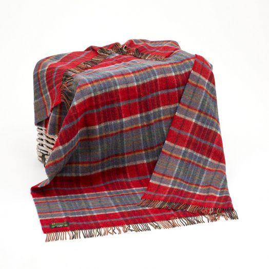 John Hany | Large Irish Picnic Blanket- Orange/Red and Blue Plaid