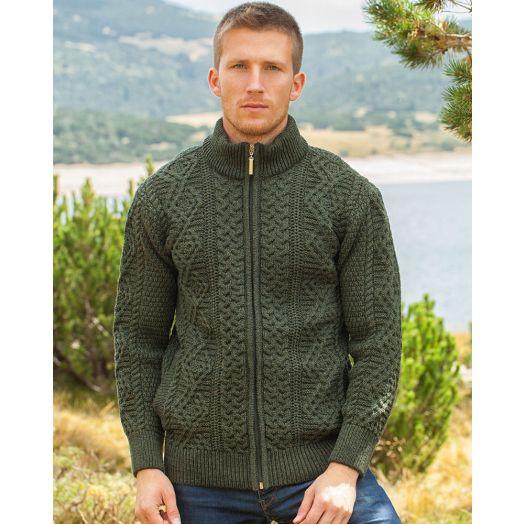 Original Aran Co. | Men's Full Zip Fisherman Cardigan 6031- Army Green