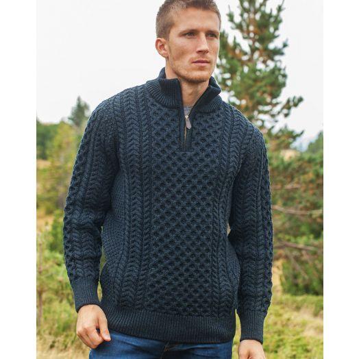 Men's 1/4 Zip Honeycomb Sweater 2507A| Blackwatch