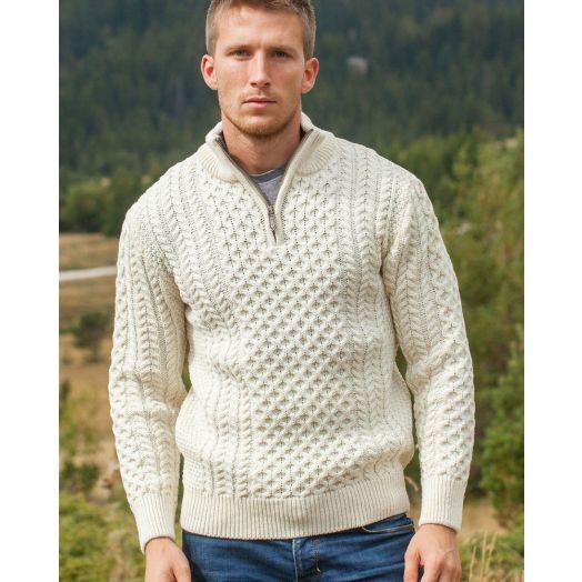 Original Aran Co. | Men's 1/4 Zip Honeycomb Sweater 2507A -Natural