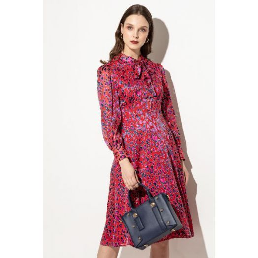 Kate Cooper | Printed Dress With Tie Collar- Red Multi