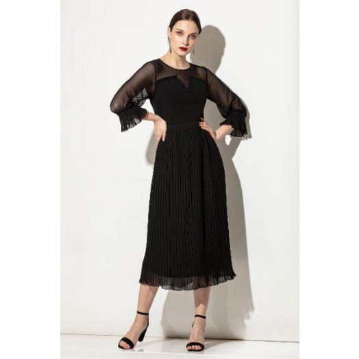 Kate Cooper | Pleated Dress with Mesh Panel- Black