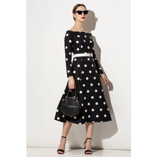 Kate Cooper | Polka Dot Flared Midi Dress - Black and White